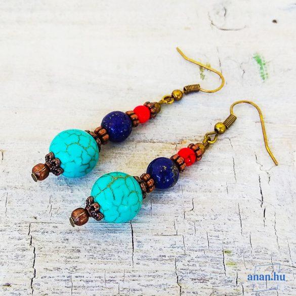 Türkinit, lápisz lazuli, ásvány fülbevaló