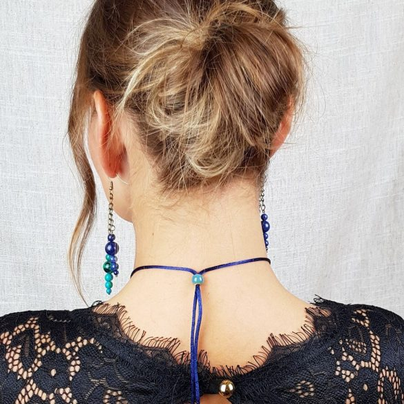 Ásvány fülbevaló, lápisz lazuli, krizokolla, bronz szerelék