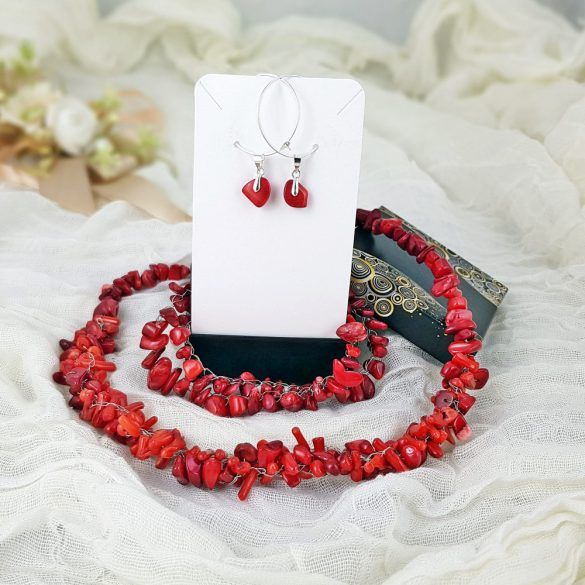 """Vörös """"Korall Keringő"""" fülbevaló, ékszer, vörös, ezüst, korall, minimalista, esküvő, menyecske"""