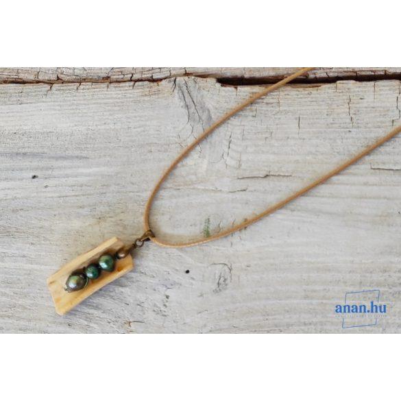 Uszadékfa medál, nyaklánc, újrahasznosított, környezetbarát, öko ékszer, Cirmos