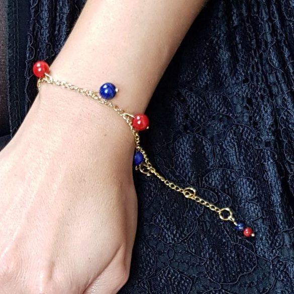 Vörös korall, lápisz lazuli, ásvány, karkötő, nemesacél, antiallergén, menyecske, ékszer