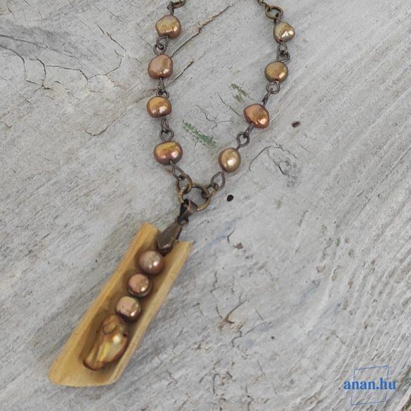 Uszadékfa, nyaklánc, újrahasznosított fa, környezetbarát, öko ékszer, Gyöngy