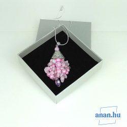 Antiallergén, nyaklánc, ékszer, ajándék nőknek, egyedi, kézműves, kristály, rózsakvarc