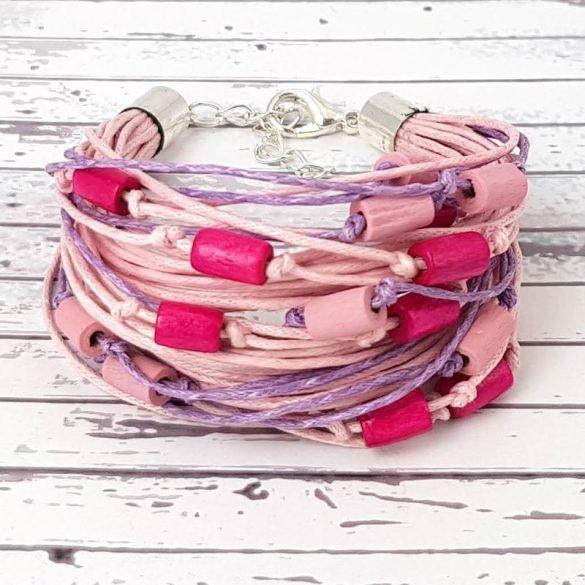Karkötő, pink, egyedi, kézműves, spárga, fa gyöngy, Antal Ékszer