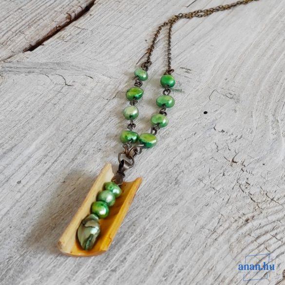 Uszadékfa, nyaklánc, újrahasznosított fa, környezetbarát, öko ékszer, Zölden