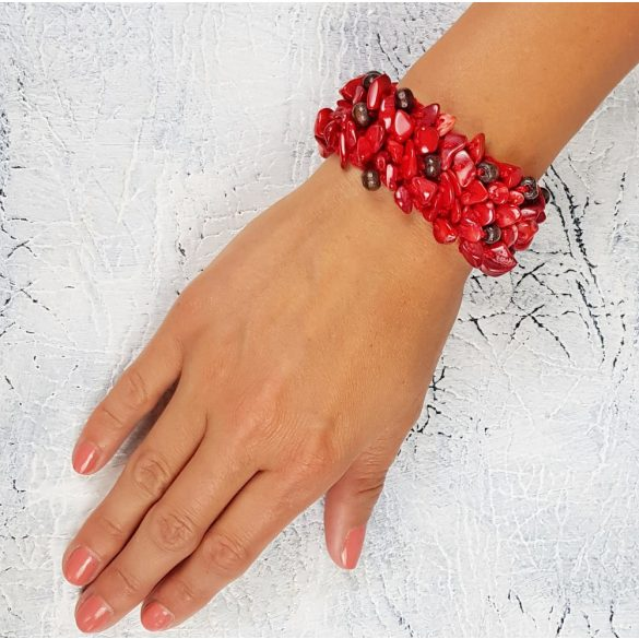 Vörös korall, ásvány, antiallergén, fémmentes, karkötő