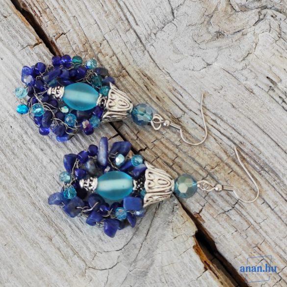 Antiallergén, fülbevaló, kristály, lápisz lazuli