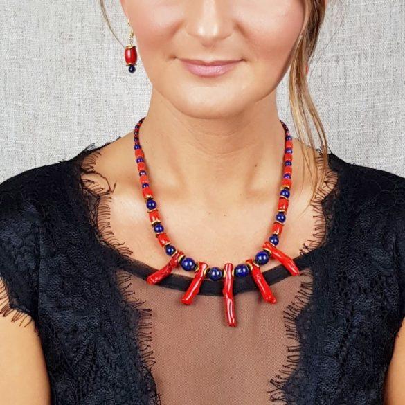 Vörös korall, lápisz lazuli, ásvány, nyaklánc, fülbevaló, menyecske ékszer