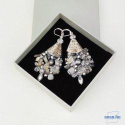 Ezüst, fülbevaló, ékszer, ajándék nőknek, egyedi, kézműves, holdkő, kristály, hematit