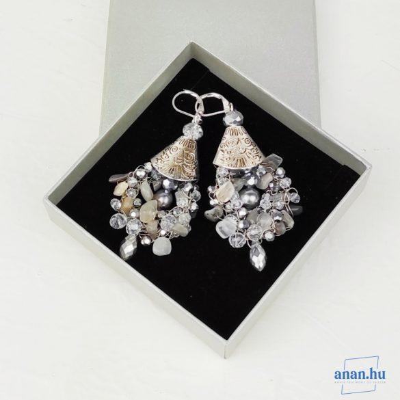 Ezüst, fülbevaló, ékszer, ajándék nőknek, egyedi, kézműves, holdkő, labradorit, kristály, édesvízi gyöngy