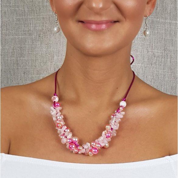 """""""Üde Zumba"""", nyaklánc rózsaszín, rózsakvarc, egyedi, kézműves, fémmentes, antiallergén, pamut fonal, gyöngy, ásvány"""