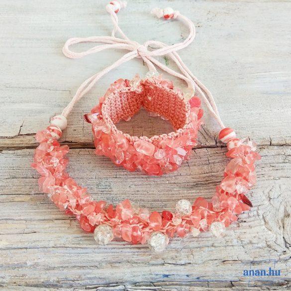 """Hipoallergén, cseresznyekvarc, ásvány,  ékszer, szett, rózsaszín, egyedi, fémmentes, nyaklánc, karkötő, pamut fonal, gyöngy, """"Üde Zumba"""" kollekció"""