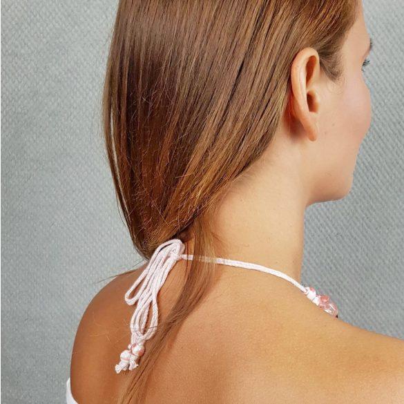 Antiallergén ékszer, cseresznyekvarc, ásvány, rózsaszín, egyedi, fémmentes, nyaklánc, ásvány karkötő, pamut fonal, gyöngy