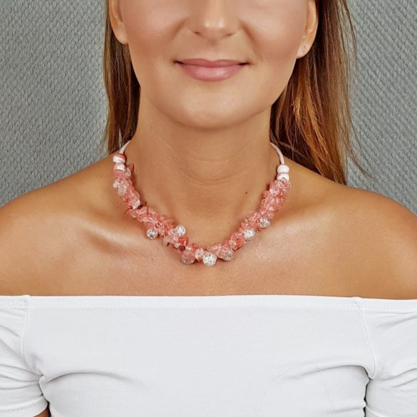 Antiallergén ékszer, cseresznyekvarc, ásvány, egyedi, fémmentes, nyaklánc, ásvány karkötő