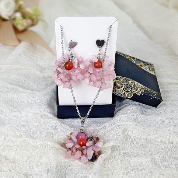 """""""Rózsaszín Sztepp"""", nyaklánc, nemesacél, rózsakvarc, achát, esküvő, koszorúslány"""