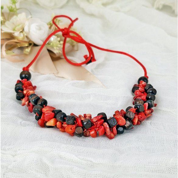 Antiallergén ékszer,  vörös, korall, ásvány, nyaklánc, egyedi, kézműves, fémmentes, ékszer
