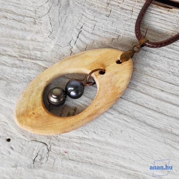 Uszadékfa medál, nyaklánc, újrahasznosított, környezetbarát, öko ékszer, Kétgyöngy