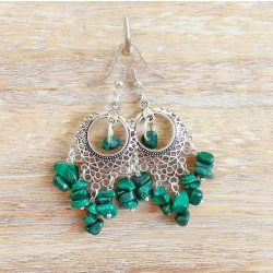 Ásvány fülbevaló, zöld, malachit
