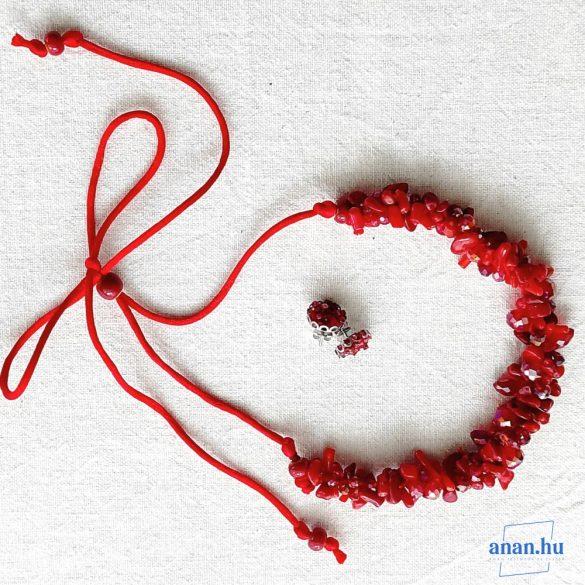 Antiallergén ékszer, vörös, korall, nyaklánc, kerámiagyöngy, esküvő, menyecske ékszer