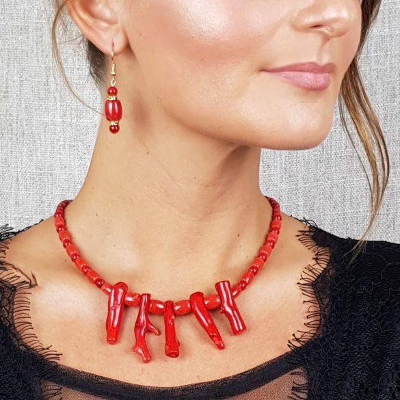 Vörös korall, ásvány, nyaklánc, fülbevaló, menyecske ékszer