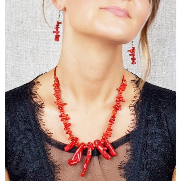"""Vörös """"Korall Keringő"""" nyaklánc, ékszer, vörös, bambusz korall ágacska, szabályozható méret, esküvő, menyecske"""