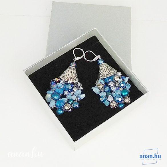 Ezüst, nyaklánc, ékszer, ajándék nőknek, egyedi, kézműves, akvamarin, kristály, hematit