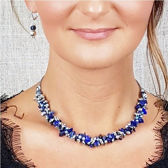 Antiallergén, nyaklánc, hematit, lápisz lazuli, gyöngy, ásvány, ékszer, egyedi, kézműves