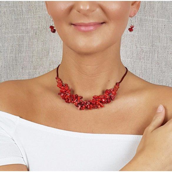 Vörös korall, ásvány, fülbevaló, minimalista, menyecske, ékszer, ezüst