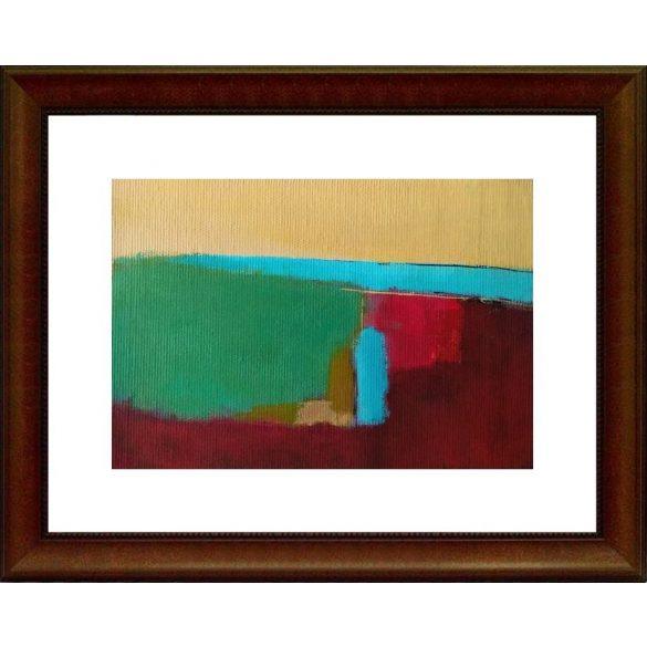 Tájkép tengerrel, absztrakt festmény, vászon.