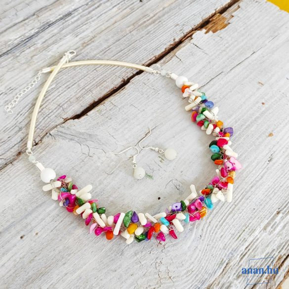 Korall, ásvány, nyaklánc, színes, fehér, ajándék fülbevaló
