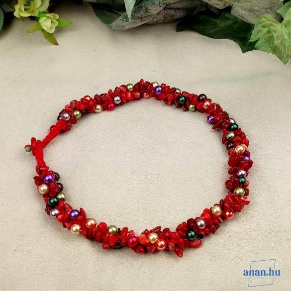 Vörös korall, ásvány, nyaklánc, fémmentes, horgolt fonal, ékszer, ajándék fülbevaló
