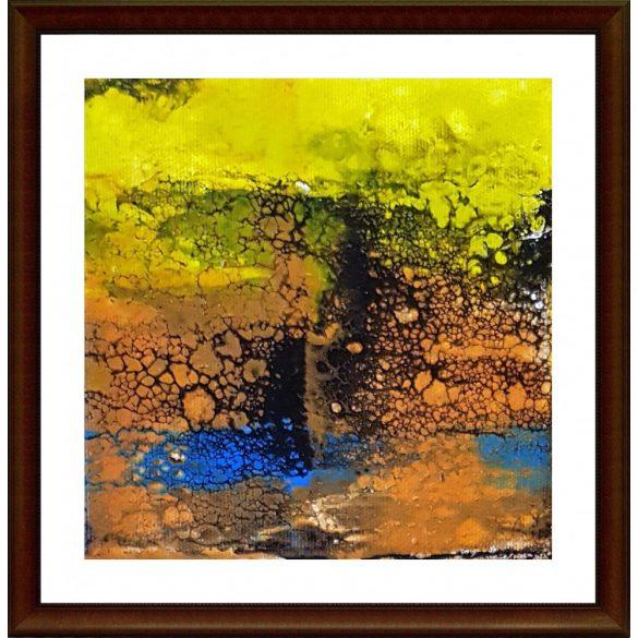 Őszi hulló levelek játéka a tó vizén.Absztrakt festmény
