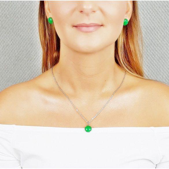 Minimalista, nyaklánc, zöld, nemesacél, amazonit