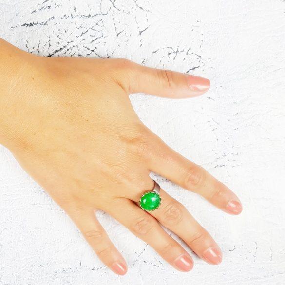 Minimalista, szabályozható, gyűrű, zöld, nemesacél, amazonit