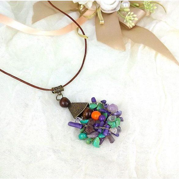 Korall, ásvány, nyaklánc, egyedi, kézműves, ékszer, lila, zöld