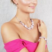 """""""Rózsaszín Sztepp"""", nyaklánc, rózsakvarc, gyöngy, esküvő, koszorúslány"""