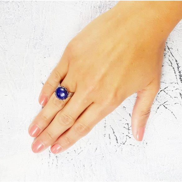 Minimalista, szabályozható, gyűrű, kék, nemesacél, lapis-lazuli