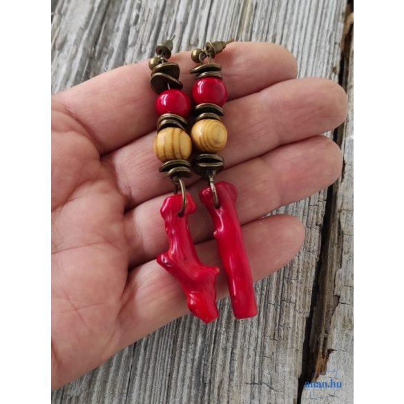Uszadékfa, nyaklánc, újrahasznosított, környezetbarát, öko ékszer, Vörös