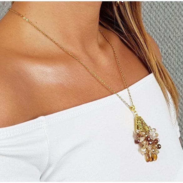 Antiallergén, nyaklánc, ékszer, ajándék nőknek, egyedi, kézműves, kristály, hematit, arany