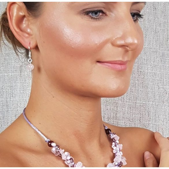 """""""Rózsaszín Sztepp"""", fülbevaló, ékszer, ezüst, rózsakvarc, minimalista, esküvő, koszorúslány"""