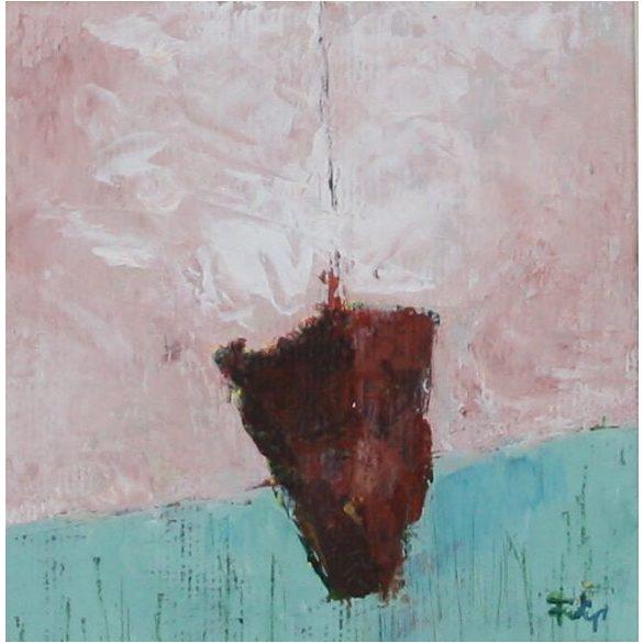Kalózhajó, absztrakt festmény, vászon.