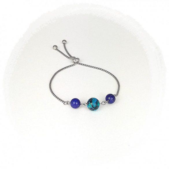 Nemesacél karkötő, minimalista, antiallergén, ékszer, lápisz lazuli, festett üveggyöngy, szabályozható méret
