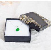 Nyaklánc, ezüst, achát, zöld, minimalista