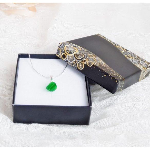 Minimalista, nyaklánc, ezüst, achát, zöld