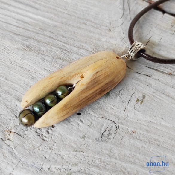Uszadékfa medál, nyaklánc, újrahasznosított, környezetbarát, öko ékszer, Harangocska