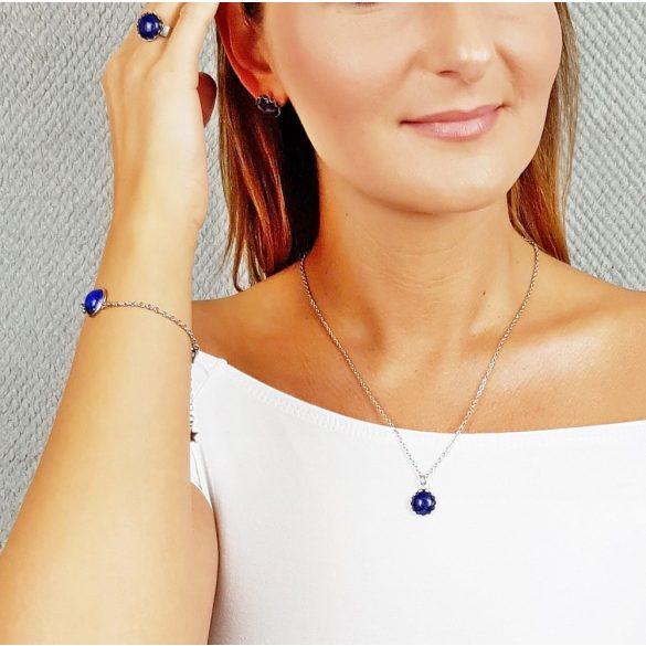 Minimalista, fülbevaló, kék, beszúrós, nemesacél, lapis-lazuli