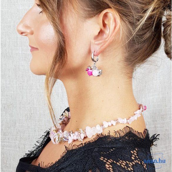 Édesvízi gyöngy nyaklánc, rózsakvarc, kristály, antiallergén ékszer, egyedi, kézműves