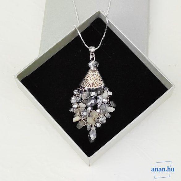 Ezüst, nyaklánc, ékszer, ajándék nőknek, egyedi, kézműves, holkő,  ladradorit, kristály, édesvízi gyöngy