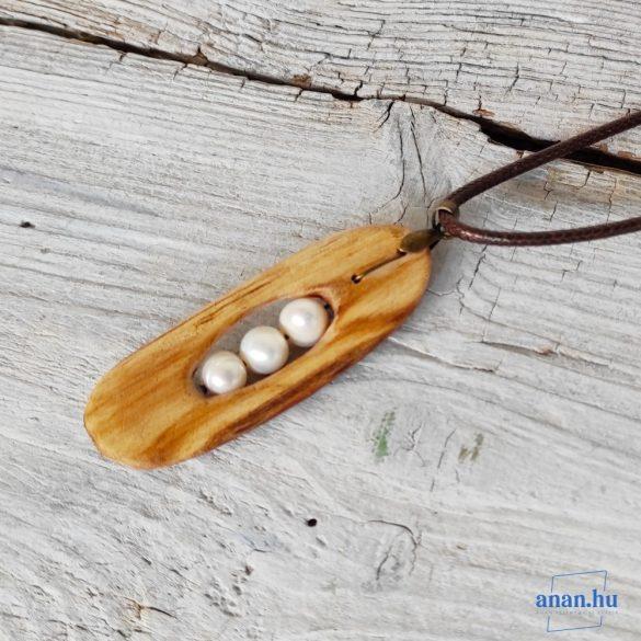 Fa nyaklánc, uszadékfa, újrahasznosított fa, környezetbarát, öko ékszer, Kagylógyöngy
