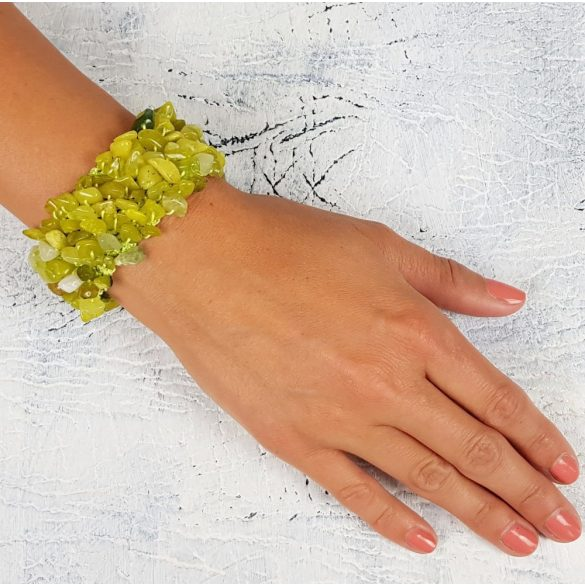 Ásvány karkötő, citromjade, egyedi, kézműves, fémmentes, antiallergén, pamut fonal
